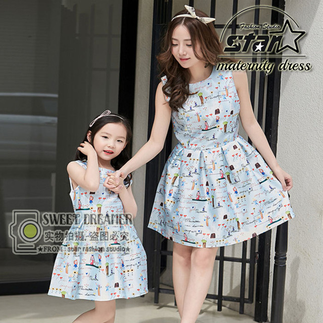 Matched Family Clothing Girls Dress Princess Mommy Dresses 2016 Summer Mother and Daughter Dresses Flower Painting Family Dress