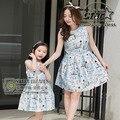Matched clothing meninas vestido vestido de princesa vestidos de mãe 2016 verão da família de mãe e filha vestidos de flor pintura vestido família