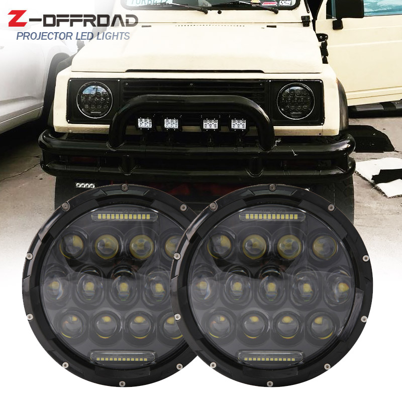 for suzuki samurai 7 led headlights with white drl for. Black Bedroom Furniture Sets. Home Design Ideas