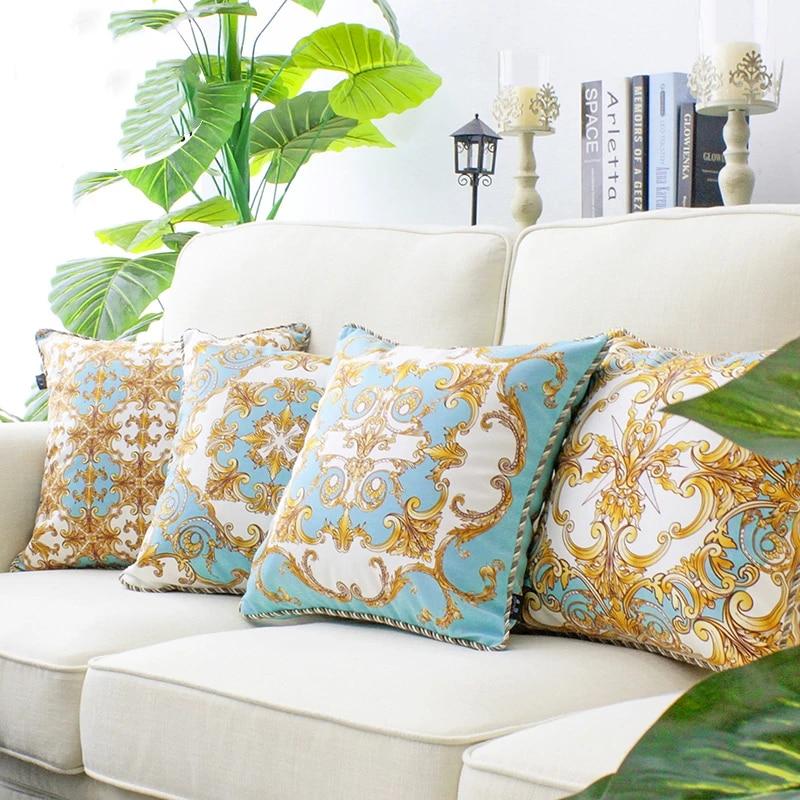 45cm baroque luxury retro cushion cover sofa blue yellow geometric paisley velvet throw pillow cover sofa lumbar pillowcase