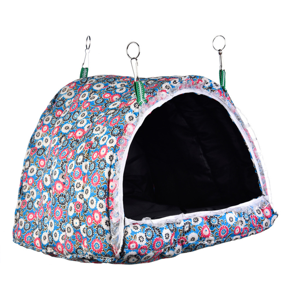 New Hamster Cage Hook Printing Convertible Cotton House Small Animals Nest With Mat font b Pet
