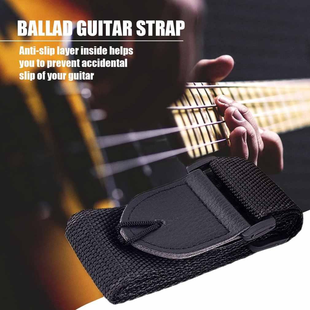 Sangle d'épaule de guitare réglable ceinture en Nylon extrémités en cuir synthétique avec petites poches et pics de guitare pour guitare basse