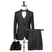jacket+pants+vest  High high quality plaid wedding ceremony fits males,blazer males,wedding ceremony costume,stripe males's Dress fits,measurement M-XXXL Three colour