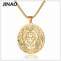 JINAO Hip Hop Domineering Lion Head Titanium Steel Gold Color Plated Pendant Necklace Men Personality Charm