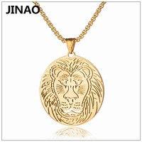 JINAO Hiphop Overheersend Leeuwenkop Titanium Staal Goud Plated Hanger Ketting Mannen Persoonlijkheid Charm Mode-sieraden