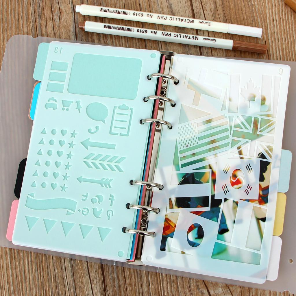Plastic Graffiti Drawing / Diy Album Hand Account Template /A6 Loose-leaf Page Paper / Hollow Lace Ruler 24 Style