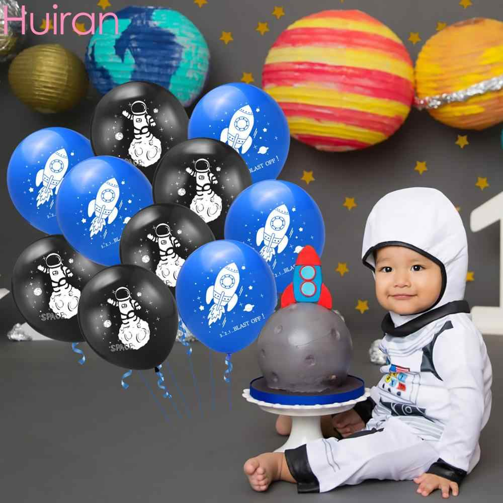 Astronaut Rocket Latex Balloons Outer Space Party Supplies Space Theme Birthday Party Decoration Kids Baby Shower Decor For Boy