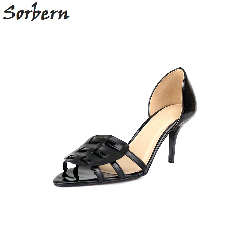 Sorbern Fashion Slip-on Ladies Women Shoes 7cm High Heels Shoes For Women Summer Styles Open Toe Sandals New Big Size 35-48 new 2017 spring summer women shoes pointed toe high quality brand fashion womens flats ladies plus size 41 sweet flock t179