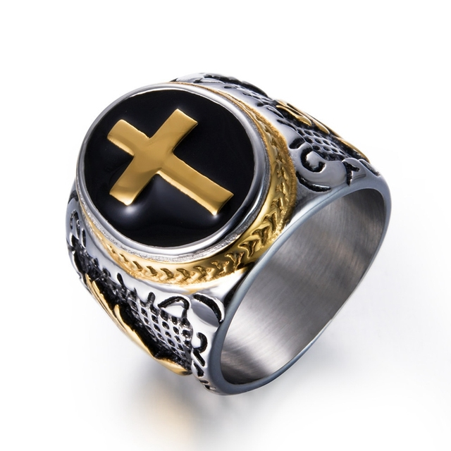 DANZE Knight Templar Crusaders Logo Mens Signet Rings Cross Titanium Steel Medieval Anel Masculino Jewelry For Gifts Size 7#-13# 1