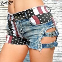 Fashion short jeans woman befree Sexy US flag print Vintage high waist Women Hole Night club streetwear shorts clothes Hot