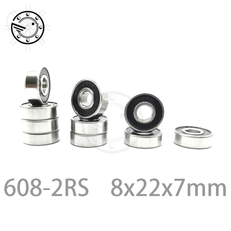 10pcs <font><b>608</b></font>-<font><b>2RS</b></font> 608RS <font><b>608</b></font> <font><b>2RS</b></font> ABEC-5 8mm x 22mm x7mm black double rubber sealing cover deep groove ball <font><b>bearing</b></font> 8*22*7 mm image