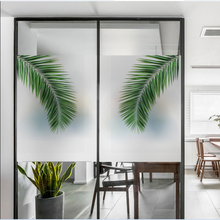 Frosted glass stickers Ins Nordic style Big leaves Bathrooms balcony door windows electrostatic transparent opaque film