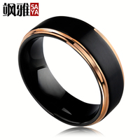 Saya Brand 8mm Width Black Tungsten Wedding Rings for Man with Beveled Polished Blue/Rose Gold Two Colors Comfort Fit Size 7 11