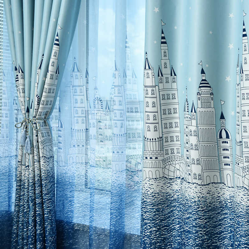 French curtains bedroom Castle princess beige and Blue Cloth Sheer tulle Curtains for the hall curtains for living Room WP230C