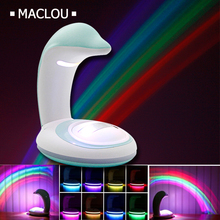 Battery USB Dolphin Rainbow Novelty LED Lighting Projector 3D Rainbow Magic Night Light Lamp Children Bedroom Novelty Decor