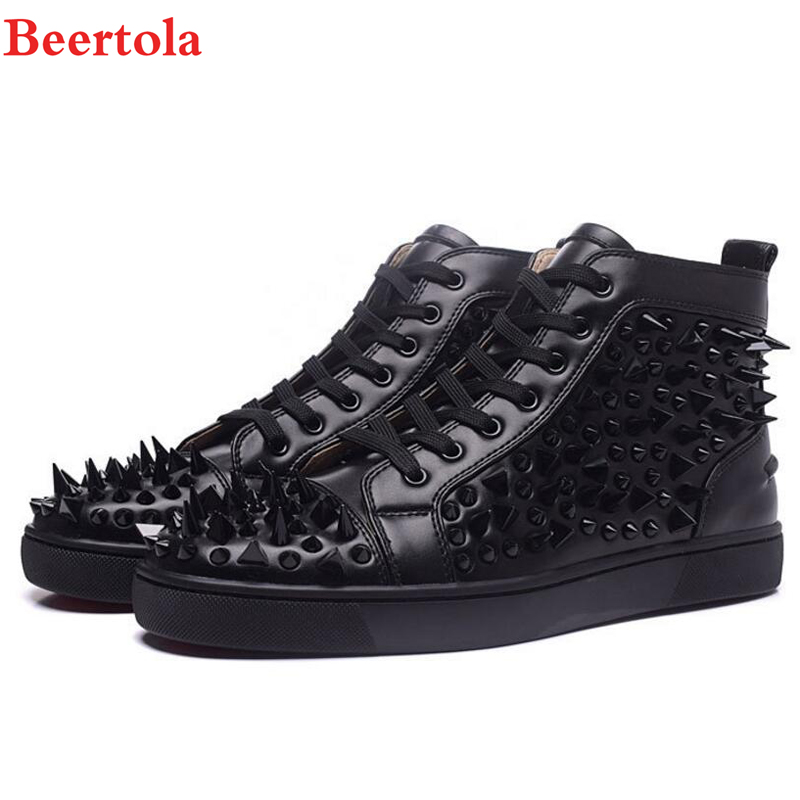 Beertola Hot Sale Black White Rivets Men Shoes High Top Fashion Spike  Rivets Shoes Outdoors Flats Casuals Shoes Chaussure Homme-in Men s Casual  Shoes from ... a6fb46d1c706