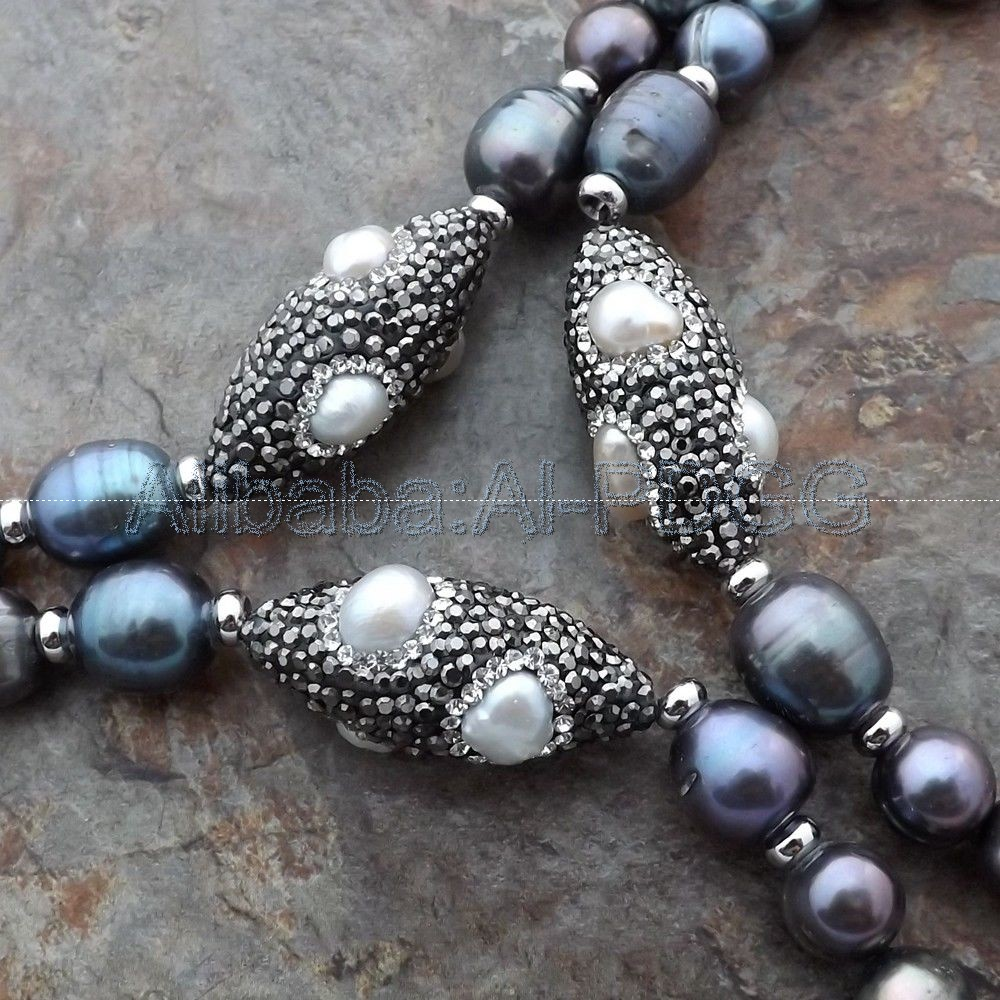 50'' Black Pearl Pearl White Pearl Long Necklace