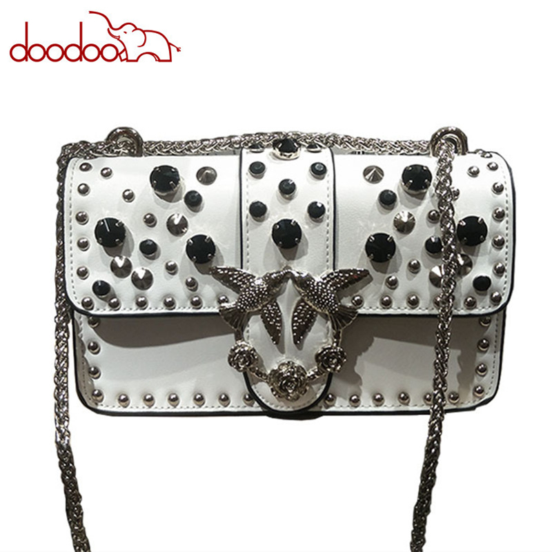 Rivets Diamond Leather Casual Shoulder Messenger Bag Fashion Brand Chain Clutch Luxury Handbags Women Bag Designer Swallows Bags hot sale luxury brand fashion chain casual shoulder bag messenger bag famous designer velvet leather women crossbody bags clutch