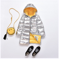 Girls Jackets For Silver Boys Children's Winter Down Clothing Kid Hooded Padded Jacket Parka Long Overcoat 3 15 Years