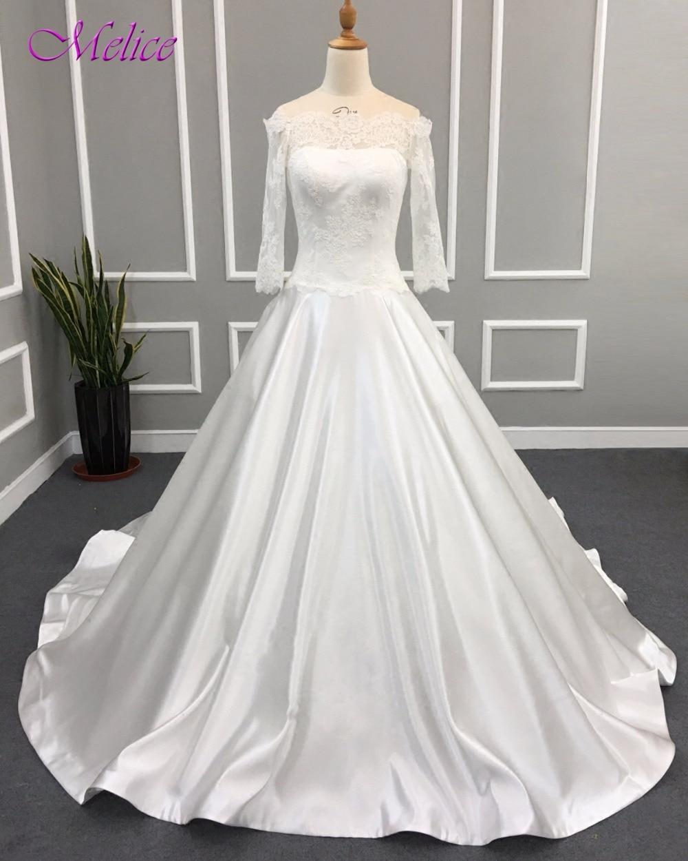 Romantic Wedding Dresses 2019: Melice Romantic Boat Neck Zipper Up Vintage Satin Wedding