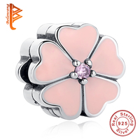 Luxury 100 925 Sterling Silver White Primrose Clip Charm Beads Fit Original Pandora Bracelet Authentic Luxury