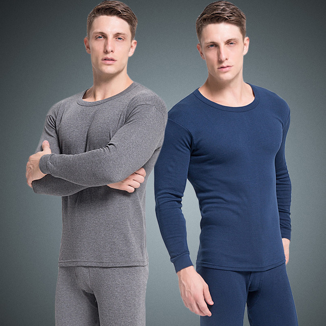 2019 New Winter Warm Cotton Long Johns For Men Thermal Underwear Sets O Neck Undershirt Top Bottom Pants Male Clothing Plus Size(China)