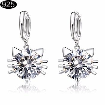 new arrival 2017 fashion   pretty silver Czech Crystal rhinestones cat necklace earrings Jewelry Sets for wedding women 80170 gold earrings for women