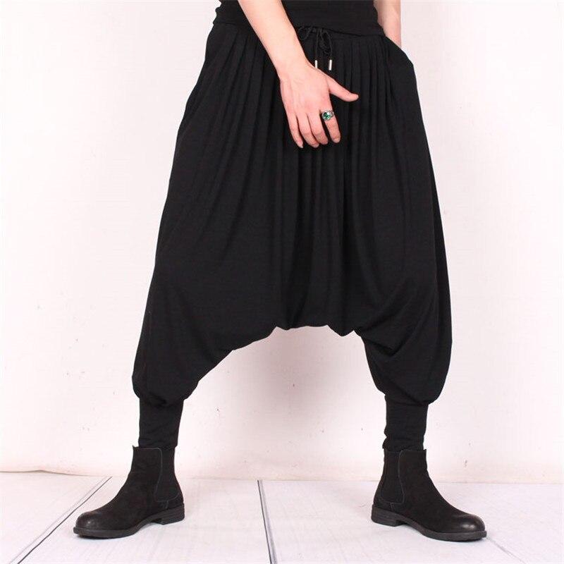 Été hip hop tendance gros pantalon soie glacée grande taille hommes résistance lâche pantalon cheveux styliste personnalité volant écureuil pantalon