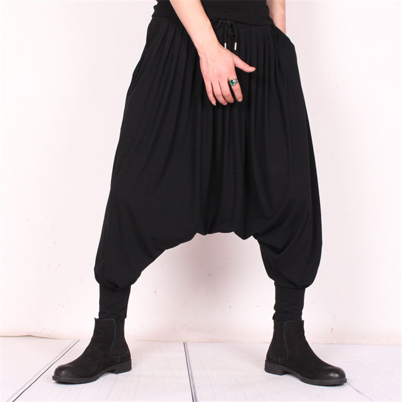 Summer hip hop trend big pants ice silk large size men's loose resistance pants hair stylist personality flying squirrel pants