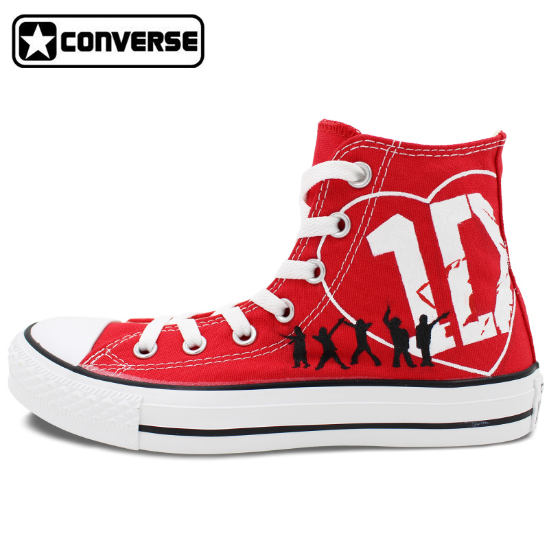Prix pour Femmes Hommes Rouge Converse All Star 1D One Direction Design Peint À La Main Chaussures High Top Femme Homme Sneakers Petit Ami Petite Amie