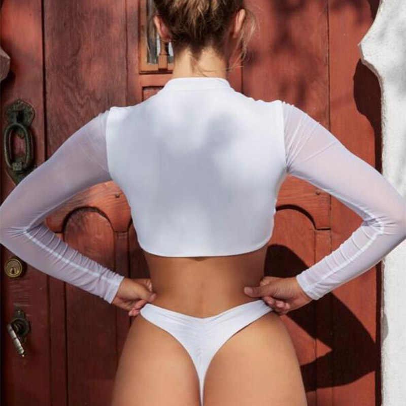 مثير الأبيض شبكة طويلة الأكمام ثوب سباحة مثير البرازيلي المرأة دفع ما يصل مجموعة البكيني السباحة عالية قطع ثوب السباحة مايوه دي باين