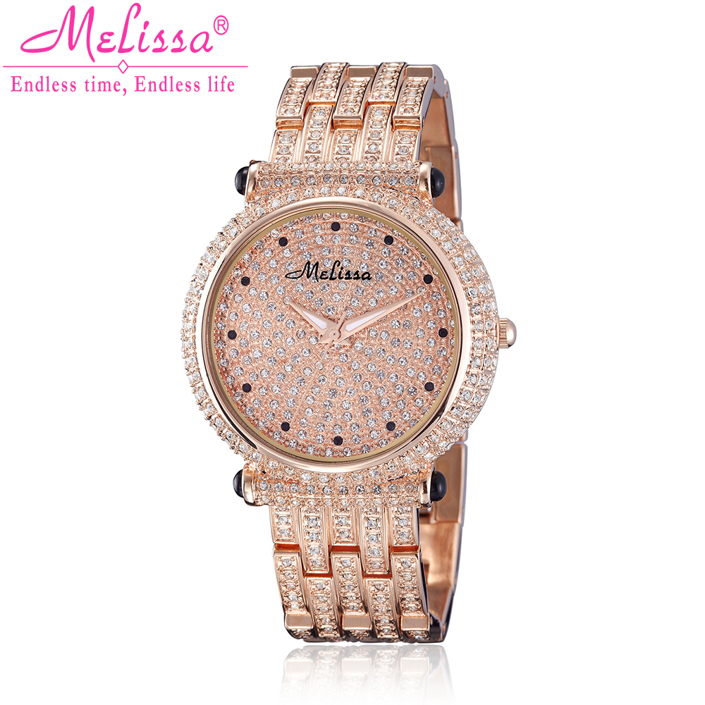 Melissa Lady dameshorloge Japan Quartz uur Fine Fashion Party armband staal Luxe strass kristal verjaardagscadeau