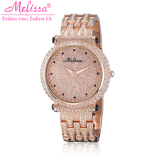 Melissa Lady Wrist Watch Quartz Hours Best Fashion Women s Jewelry Party Bracelet Steel Luxury Rhinestones