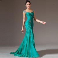 Charming Sheath Cap Sleeve Floor Length Beads 2015 Green Pageant Gown Formal Prom Party Long Chiffon