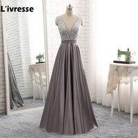 L Ivresse 2017 Luxury Long A Line Evening Dresses Sexy Gray Satin Beaded Vestido De Festa