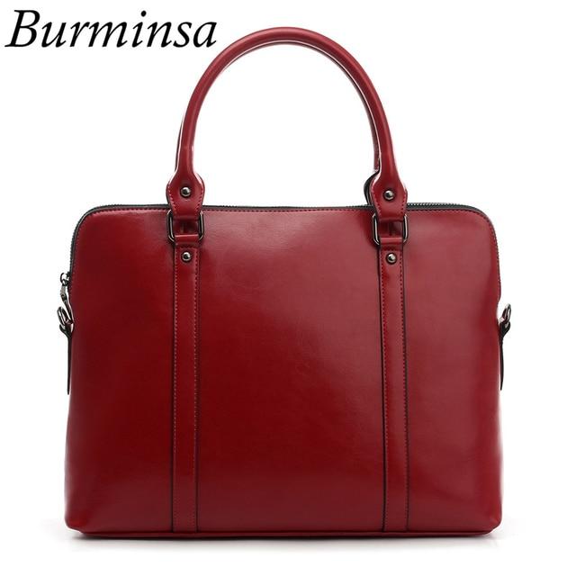 Burminsa натуральная кожа Портфели для Для женщин 14 дюймов ноутбук сумки, женские сумочки женские Офисные Сумки На Плечо Курьерские сумки 2019