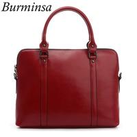 Burminsa Vintage Big Genuine Leather Women Briefcase 14inch Laptop Bags Female Handbags A4 Office Work Shoulder Messenger Bags