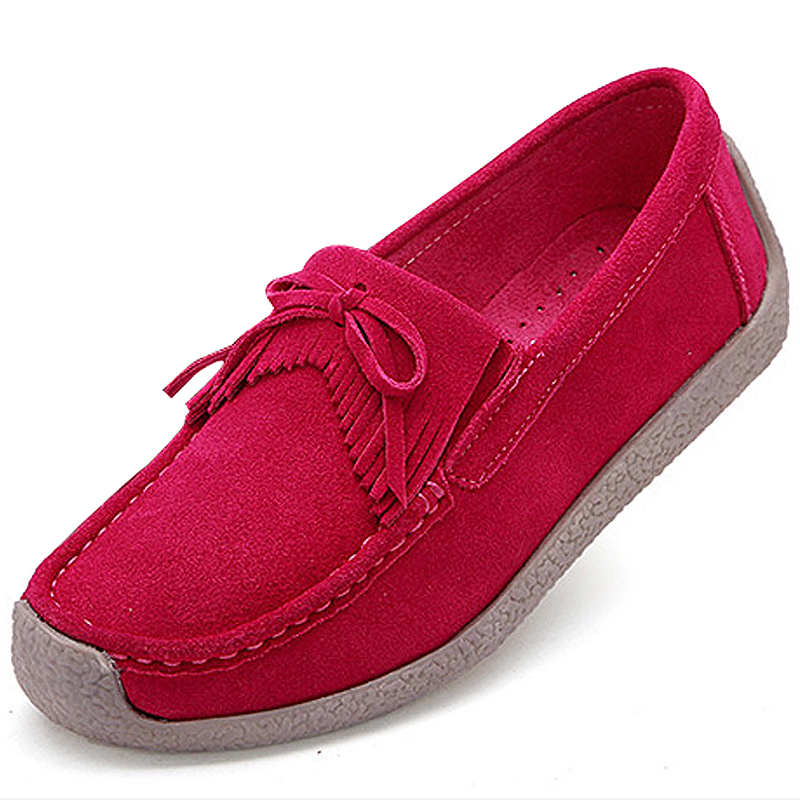 Mujer Zapatos Chaussures Femme rose Beckywalk Véritable Red Wsh2760 Printemps bleu Gland Daim 2019 Femmes pu peach jaune Appartements Red Ciel rose Glissement En Cuir Casual Noir Dame Sur PZ0arZAwq