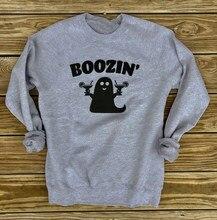BOOZIN'S Ghost Crewneck Boos Halloween sudadera divertida Popular Boozin fantasma Halloween impreso gris Tops trajes