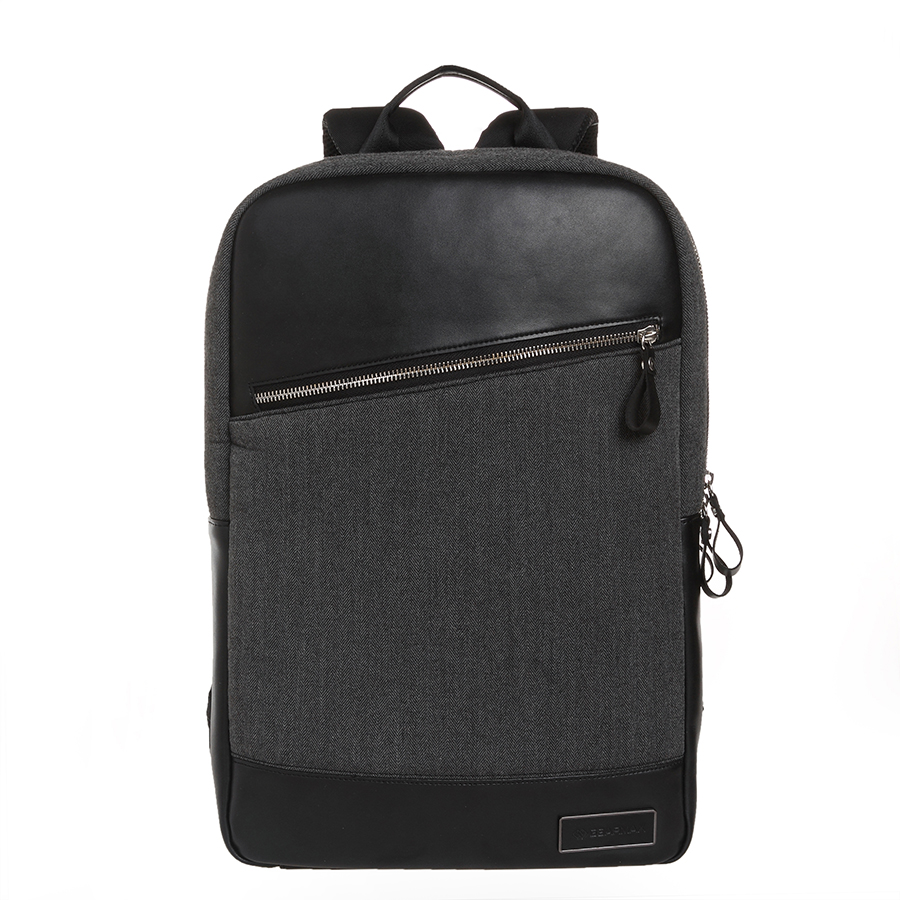 GEARMAX Slim Laptop Backpack for Men Fashion College School Leather Backpack Younth for Laptop 14 15 Inch Knapsack Black Daypack