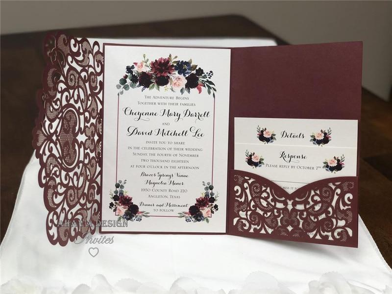Marsala Burgund Laser Cut Hochzeits einladungen Elegante Gestanzte Laser Tasche Mit RSVP karte-in Karten & Einladungen aus Heim und Garten bei  Gruppe 3