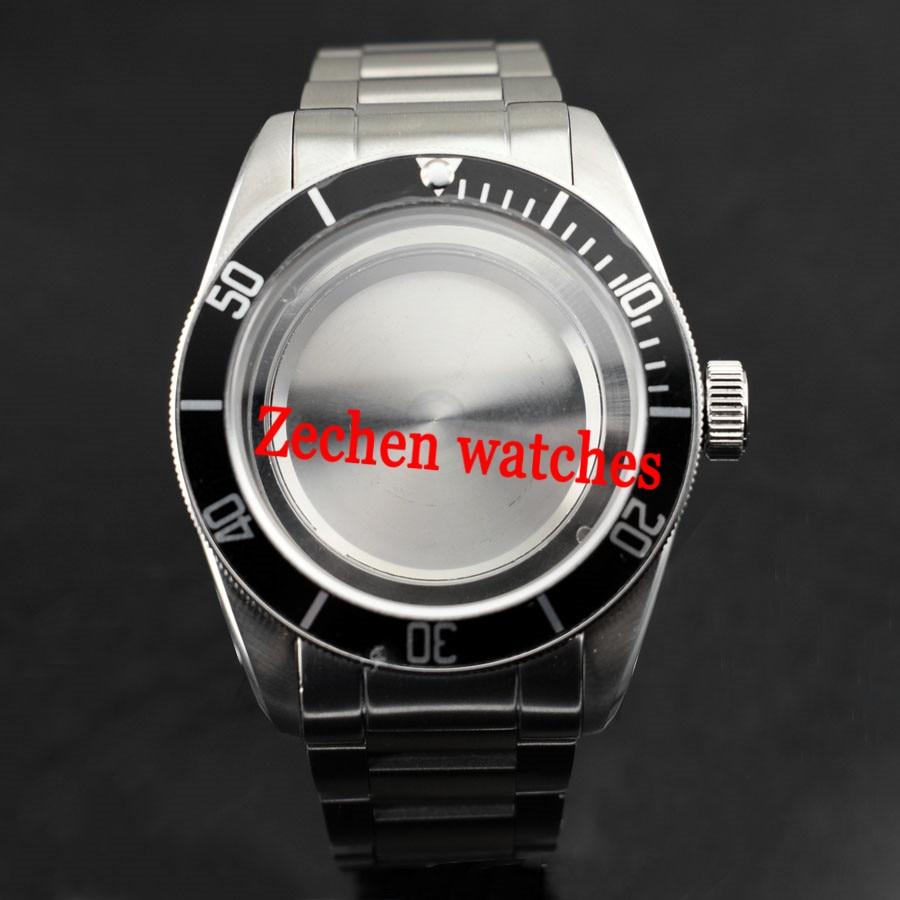 41mm Stainless Steel Watch Case Fit ETA 2836 Miyota 8205 8215 821A Mingzhu/DG 2813 3804 mens watches