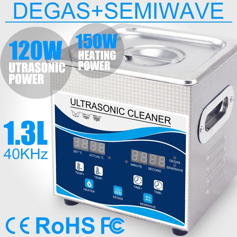 Ultrasonido Cleaner 120W 1.3L Bath Heater Degas Variable Wave Ultrasound Jewellery Tableware Ring Bullet Printer Head Injector
