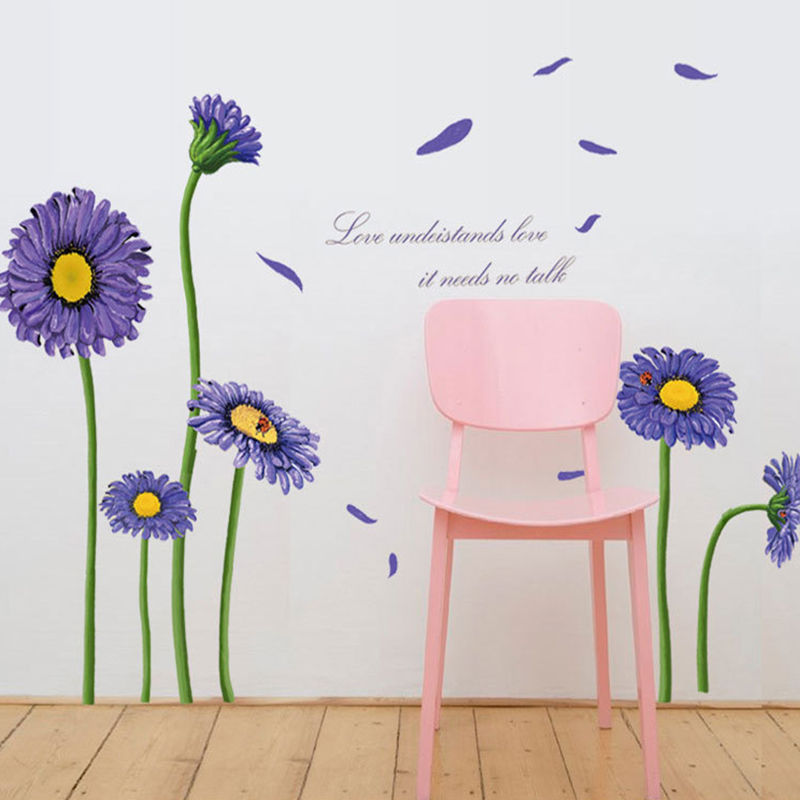 Purple Pollen Removable Wall Art Decal Sticker Diy Home: DIY Purple Flower Wall Stickers Vinyl Decal Removable Home