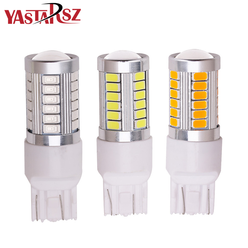 купить 1pcs T20 7443 W21/5W 33 SMD 5630 LED Auto Brake Lights 21/5w Car DRL Driving Lamp Stop Bulbs Turn Signals Red White DC 12V по цене 73.53 рублей