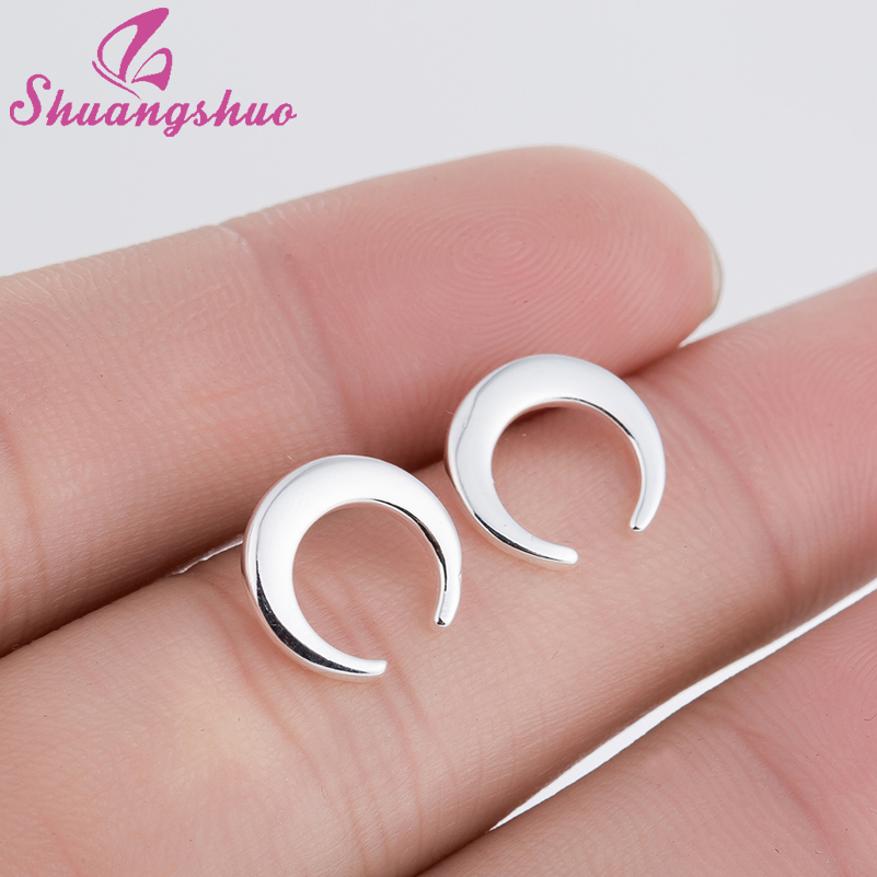 Shuangshuo New Vintage Half Moon Stud Earrings for Women Geometric Half Round Gold Earrings Circle Earring Valentines Day Gift gold big circle geometric statement stud earrings