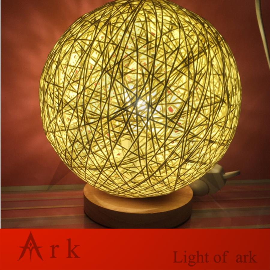 Ark light wood with ratten wicker wire dia 20cm ball led table ark light wood with ratten wicker wire dia 20cm ball led table lamp for living room bedroom children room in table lamps from lights lighting on greentooth Choice Image