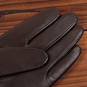 Image 4 - Gours冬の新メンズ本革手袋ゴートスキンミトンブラウンプラスベルベット暖かいファッション駆動GSM037