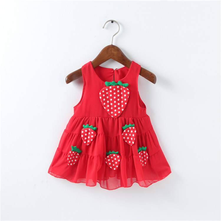 Baby Girl Clothes Dress Casual Strawberry Loose O-Neck Patch Pretty Summer Cotton Clothing Children Cute Kids Baby Girl Dress