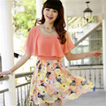 Free shipping kids girls dress new summer dresses female Korean Slim round neck short-sleeved chiffon floral dress girl